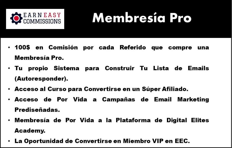 Membresia Pro en el programa de afiliados y cpa earn easy commissions