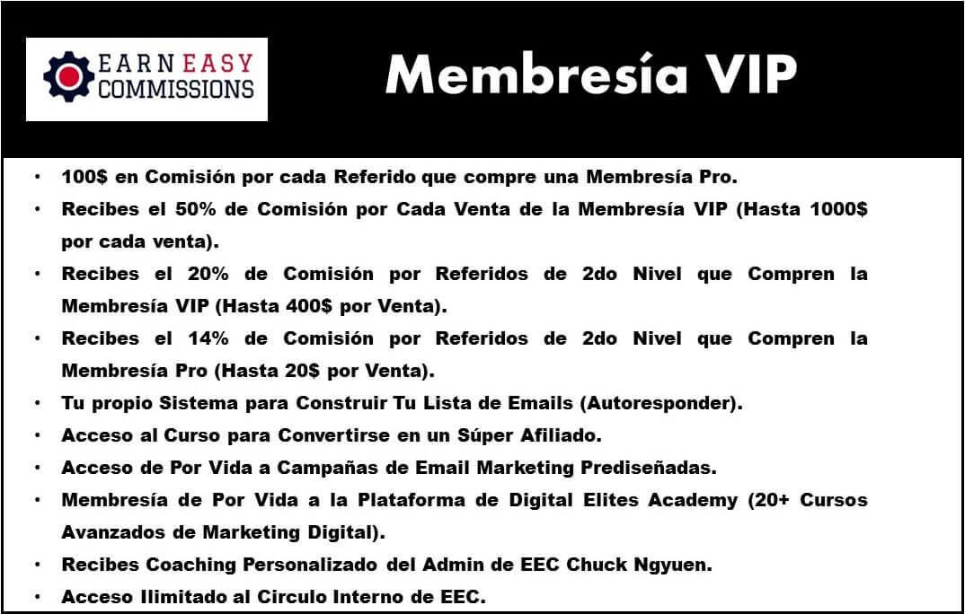 Membresia VIP en el programa de afiliados y CPA earn easy commissions